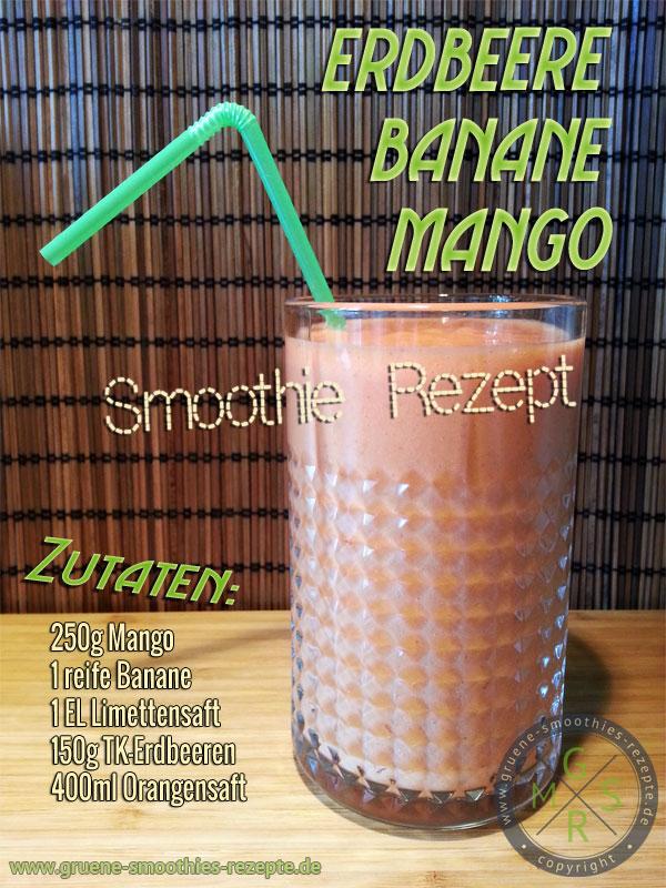 Frucht Smoothie mit Mango, Erdbeere und Banane