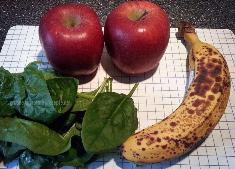 Grüne Smoothies mit Apfel, Banane und Spinat