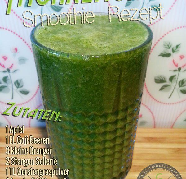 Grüner Smoothie mit Möhrengrün, Gerstengras, Gojibeeren, Sellerie, Orangen und Apfel