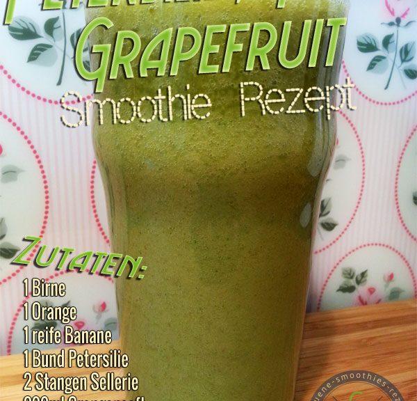 Grüner Smoothie mit Petersilie, Birne, Stangensellerie, Banane und Grapefruit