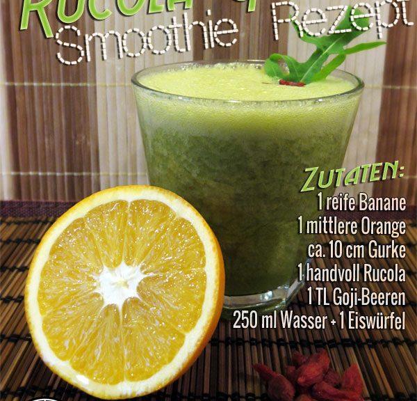 Grüner Smoothie mit Rucola, Gurke und Goji-Beeren