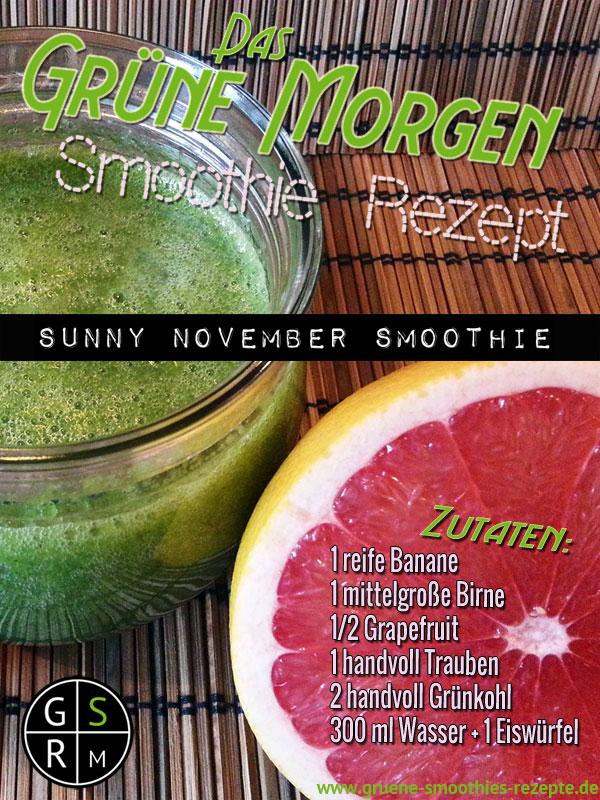 Grüne Smoothies mit Banane, Birne, Grünkohl und Traube