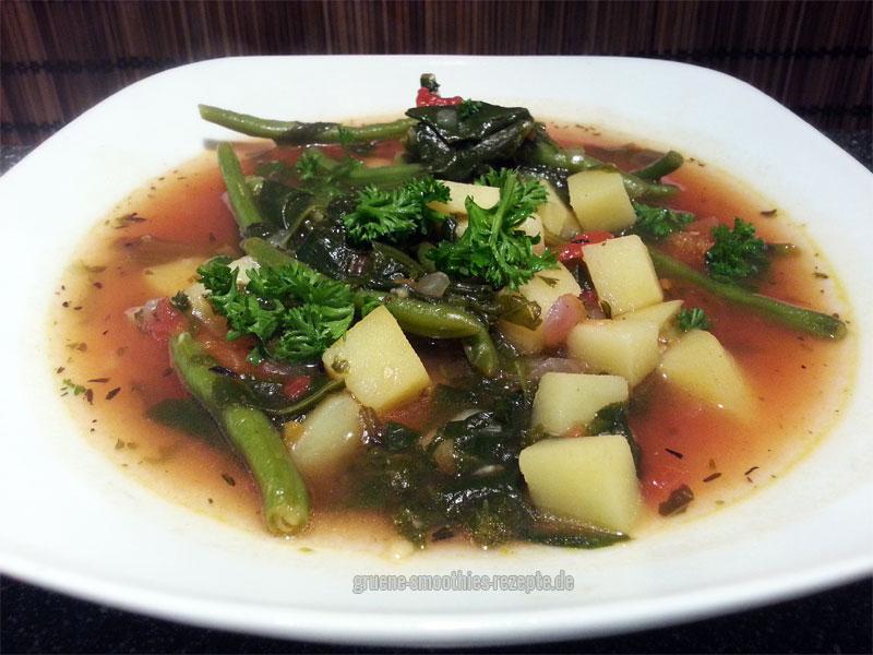 Vegan Fasten - Tag 1 - Florentiner Topf mit grünen Bohnen, Tomaten, Spinat und Kartoffeln