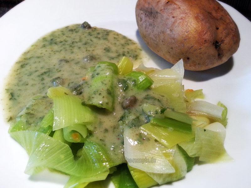 Vegan Fasten - Tag 1 - Lauch in Kapernsoße mit einer Ofenkartoffel