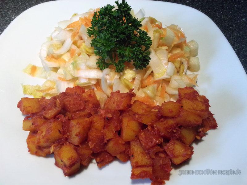 Vegan Fasten - Tag 2 - Tomatenwürzige Kartoffelspalten und Chicoree-Salat mit Karotten und Birne