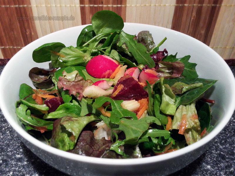 Vegan Fasten - Tag 7 - Fastensalat mit Genießer-Mix, Möhren, Sellerie, Radieschen und Rote Bete