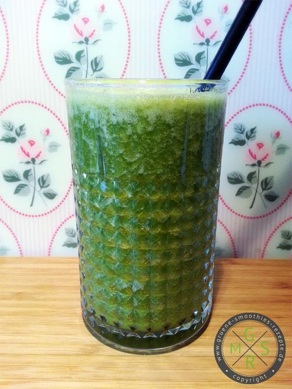 Grüne Smoothie aus einem Bund Petersilie, einer Nashibirne, einer Stange Sellerie, zwei Orangen, ca. 20 Goji-Beeren, 4 Eiswürfel und 200ml Karottensaft