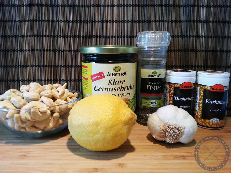 Die Zutaten für die vegane Cashew-Hollandaise