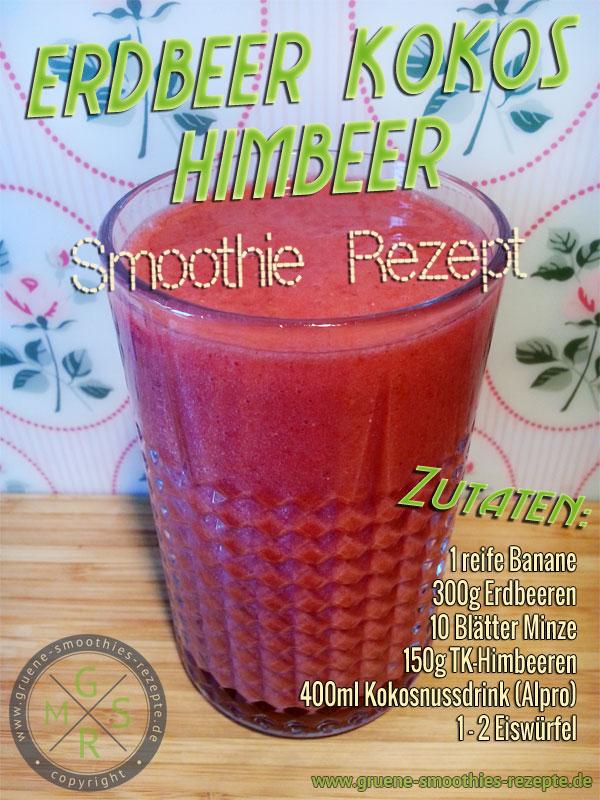 Grüner Smoothie mit Minze, Erdbeeren, Himbeeren, Kokosdrink und Banane