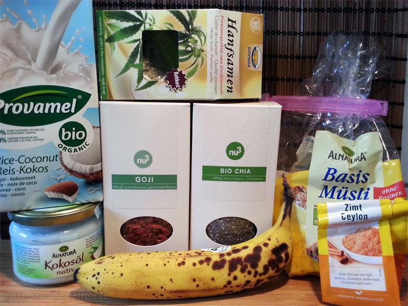 Dies sind die Zutaten für mein Superfood-Porridge
