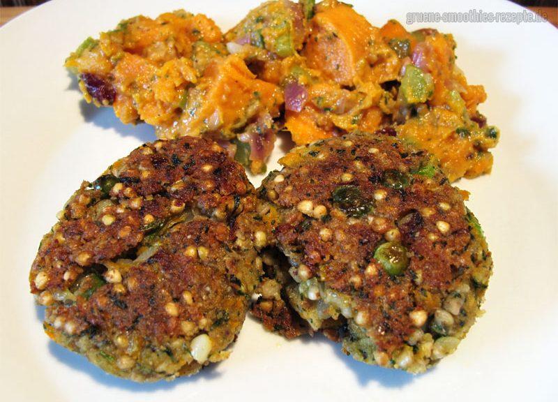 Buchweizenbratlinge und Süßkartoffelsalat mit Staudensellerie und Cranberries