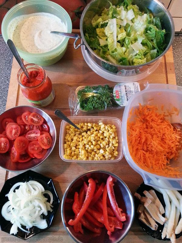 Die Zutaten für die veganen Wraps