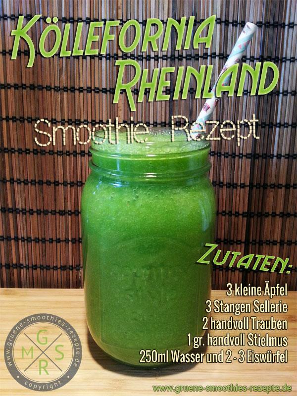 Grüner Smoothie mit Stielmus, Stangensellerie, Trauben und Apfel
