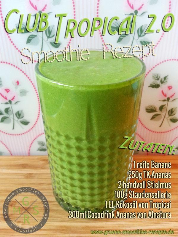 Grüner Smoothie mit Stielmus, Kokosöl von Tropicai, Ananas Sellerie, Banane und dem Coco Drink Ananas von Alnatura