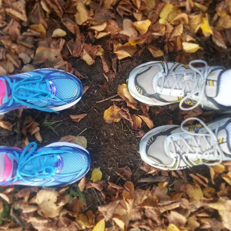 Die grünen Smoothies beim Herbstlauf