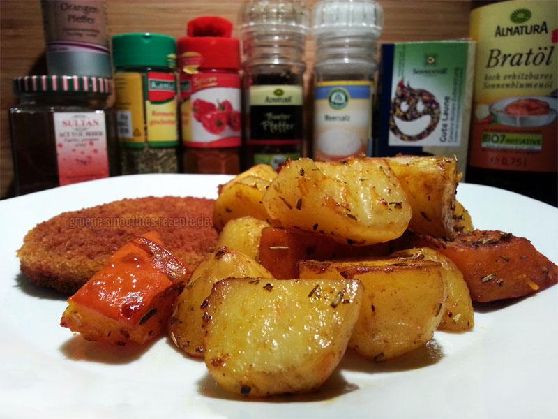 Das tolle herbstliche Backofengemüse a la Mrs. Smoothies und das leckere vegane Schnitzel von VegaLand
