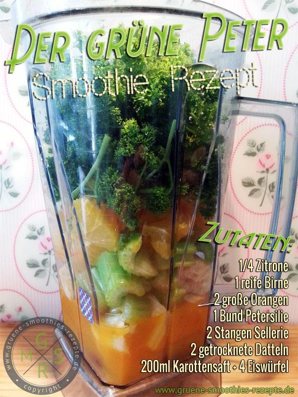 Grüner Smoothie mit Petersilie, Sellerie, Datteln, Birne, Orangen und Karottensaft