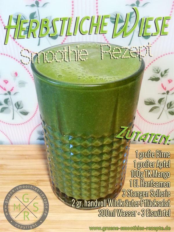 Grüner Smoothie mit Wildkräuter, Plücksalat, Essblumen, Hanfsamen, Sellerie, Apfel, Birne und Mango