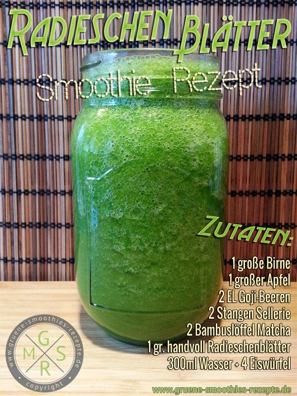 Grüner Smoothie mit Radieschenblätter, Matcha, Goji-Beeren, Sellerie, Apfel und Birne
