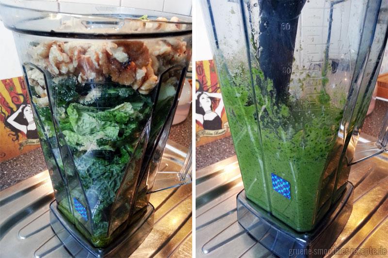 Das vegane Wirsing-Walnuss-Pesto im Omniblend - Vorher Nachher Bild