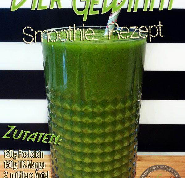 Grüner Smoothie mit Postelein, Petersilie, Mango und Apfel