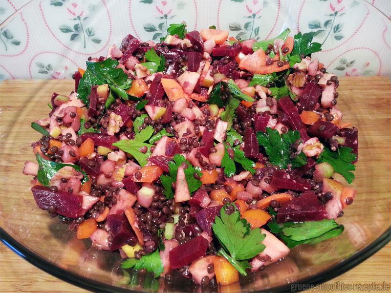 Yammie - Der Linsen-Apfel-Salat-mit-Rote-Bete von Mrs. Smoothies.