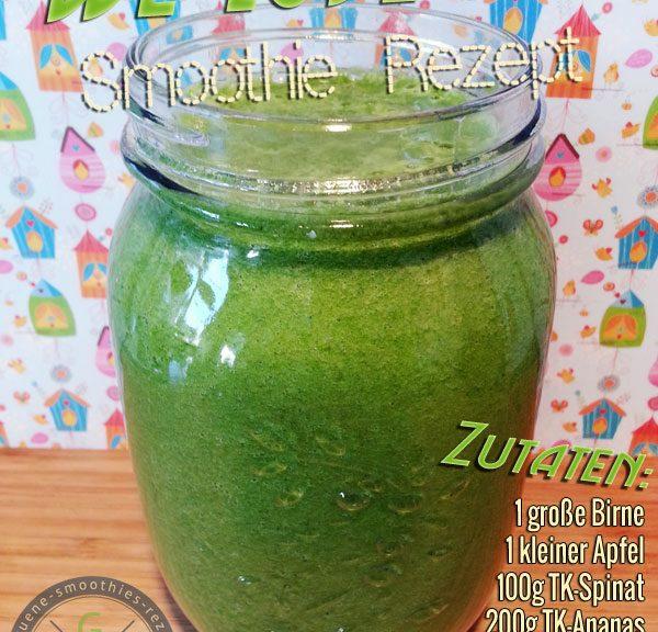 Grüner Smoothie mit Petersilie, Spinat, Ananas, Apfel und Birne