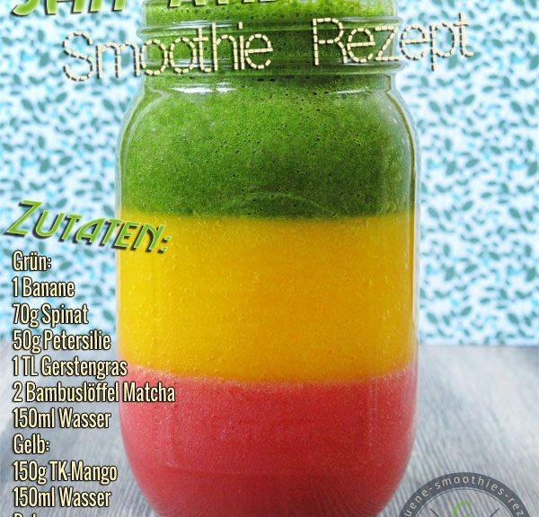 Jah Rastafari - Smoothie mit Matcha, Gerstengras, Petersilie, Mango, Banane, Erdbeere und Spinat
