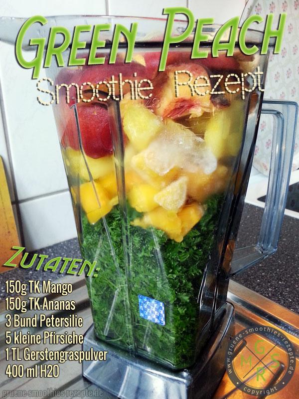 Grüner Smoothie mit Petersilie, Gerstengraspulver, Pfirsich, Mango und Ananas