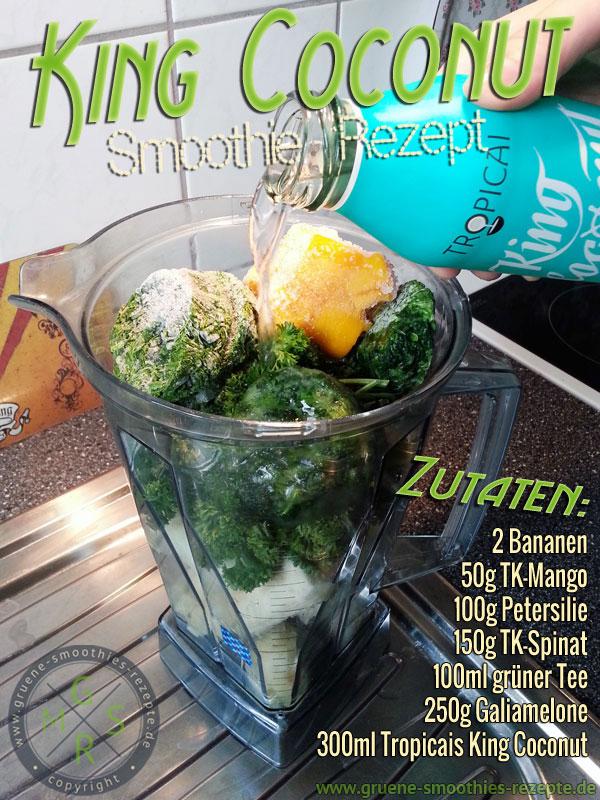 Grüner Smoothies mit Petersilie, Spinat, grüner Tee, Banane, Melone, Mango und Kokoswasser