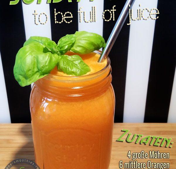 Kaltgepresster Möhren-Orangen-Ingwer-Basilikum-Saft