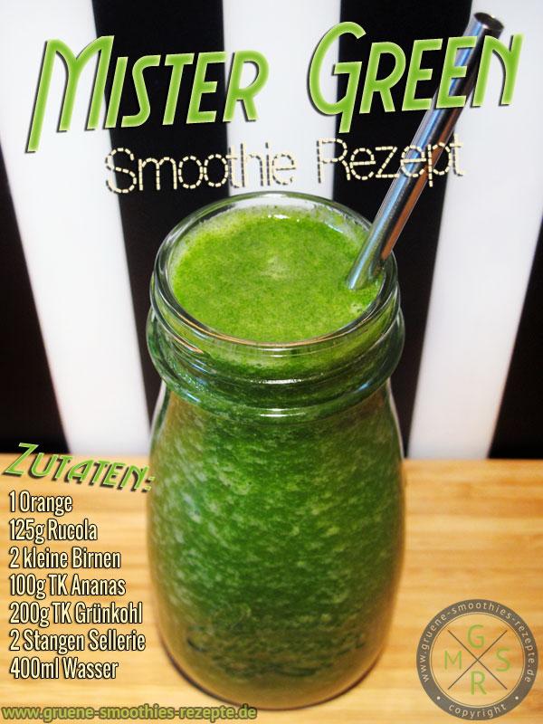 Grüner Smoothie mit Grünkohl, Sellerie, Rucola, Orange, Birne und Ananas - Stark gegen Erkältungen