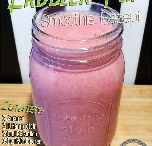 Smoothie Rezept mit Erdbeeren, Banane, Hanfprotein, Reismilch, Soja-Joghurt
