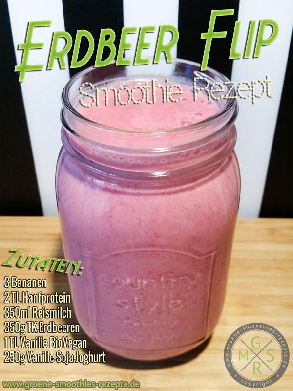 Smoothie Rezept mit Erdbeeren, Banane, Hanfprotein, Reismilch und Soja-Joghurt
