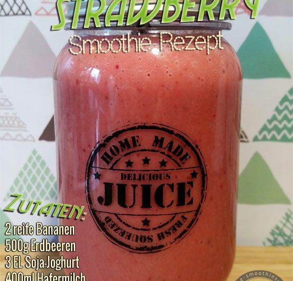 Smoothie Rezept mit Erdbeeren, Bananen, Kirschen, Kokosblütenzucker, Joghurt und Hafermilch
